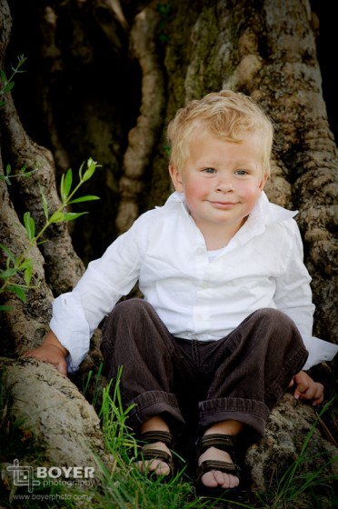 Outdoor Toddler Portrait in front of a tree
